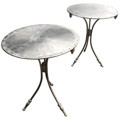 Pair of French Riveted Brushed Chrome Side Tables