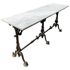 Long Marble-Topped Belgian Cast Iron Console Table with Art Nouveau Supports