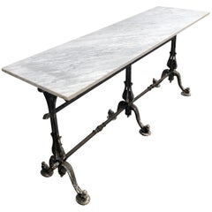 Long Marble-Topped Belgian Cast Iron Console Table