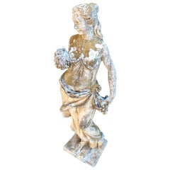 French Cast Stone Statue of Autumn with Beautiful Patina