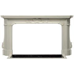 Striking 18th Century Italian Baroque Fireplace Mantel in Statuary Marble