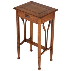 Dutch Oak Art Nouveau Arts & Crafts Sewing Table with Inlay, 1900s