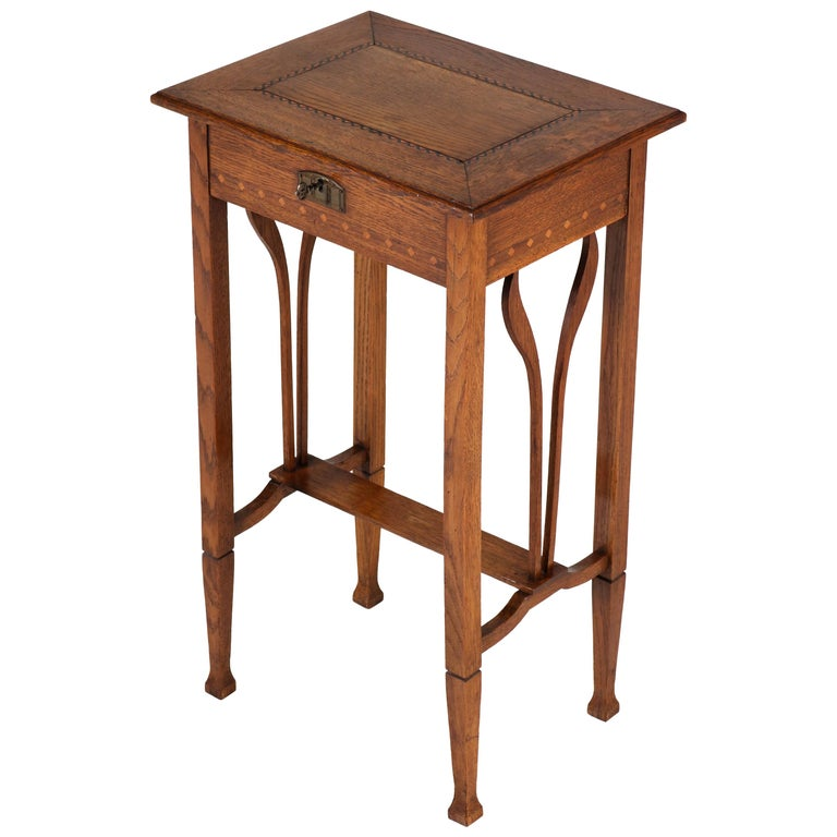 Dutch Oak Art Nouveau Arts & Crafts Sewing Table with Inlay, 1900s For Sale