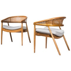 "Pair of beech and cane James Mont ""King Cole"" Armchairs, 1950s"