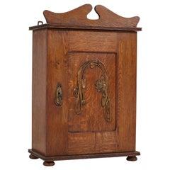 Dutch Oak Art Nouveau Arts & Crafts Wall Cabinet with Brass Decor, 1900s