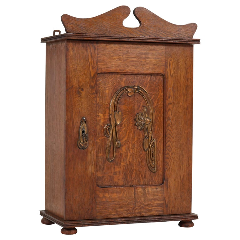 Dutch Oak Art Nouveau Arts & Crafts Wall Cabinet with Brass Decor, 1900s 1