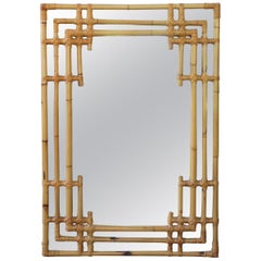 1970s Spanish Bamboo and Lazed Wicker Oriental Style Mirror
