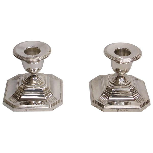 Pair of Silver Candlesticks, 1937, Ellis and Co of Birmingham, George III Style