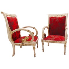 Empire Neoclassical Revival Palatial Carved White Thrones Armchairs 20th Century