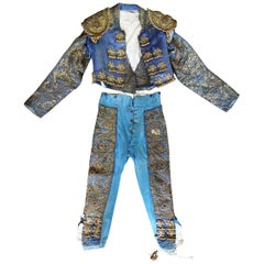 1950s Blue Spanish Bullfighter Traditional Outfit Embroidered in Silver