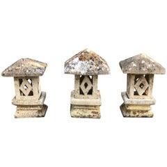 Set of Three French Carved Limestone Garden Lanterns