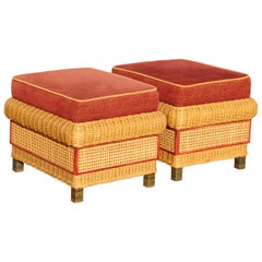 1980s Pair of Spanish Wicker Puffs with Red Cushions