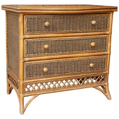 1990s Spanish Wicker and Bamboo Three-Drawer Chest