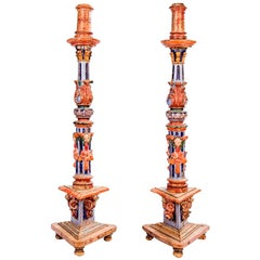 18th Century Pair of Spanish Hand Carved Painted Wooden Pricket Sticks