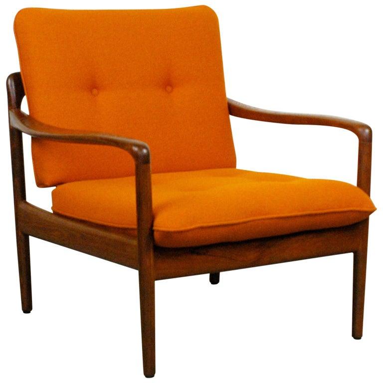 Midcentury Orange Teak Easy Chair by Knoll Antimott, Germany 1