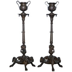 Rare 19th Century Solid Bronze Candlesticks August Maximilien Delafontaine, Pair