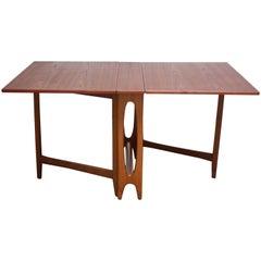 Scandinavian Modern Oak and Beech Gateleg Dining Table