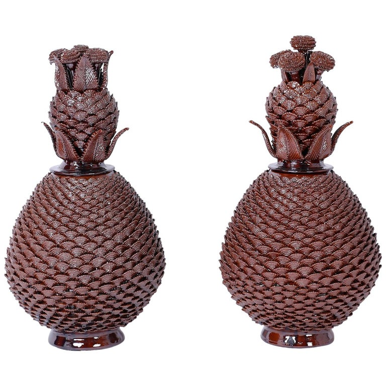 Large Pair of Brown Glazed Terra Cotta Lidded Pineapple Urns 1
