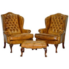 Pair of William Morris Chesterfield Wingback Armchairs & Footstool Brown Leather