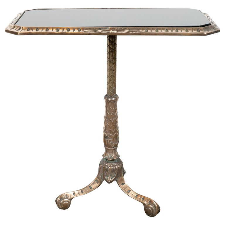 Fine Art Deco Antique Brass Drinks or Side Table with Inset Black Vitrolite Top For Sale