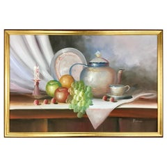 Original Signed Painting by Mariano Signed Framed Still Life, Midcentury