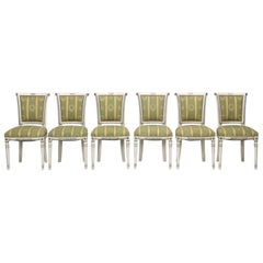 French Directoire Style Old Paint Set of (6) Dining Chairs