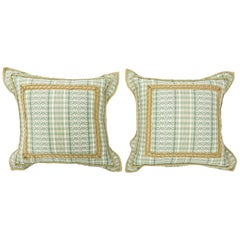 Decorative Green and White Pillows