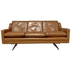 Danish Shaker Three-Seat Leather Sofa