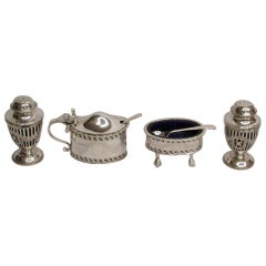 4-Piece Silver Georgian Style Condiment Set, 1926-1929