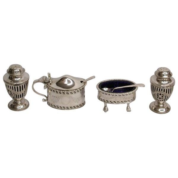 4-Piece Silver Georgian Style Condiment Set, 1926-1929