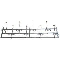 Late 19th Century Metal Coat Rack with 8 Hanger, Late 1800
