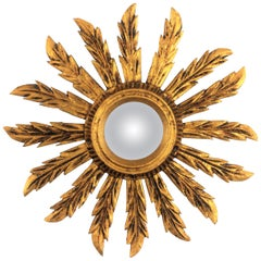 Spanish 1920s Baroque Style Carved Giltwood Small Sunburst Convex Mirror
