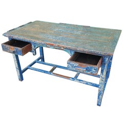 Mid-20th Century Wooden Blue Patina Table/Desk with 2 Wide Drawers, 1950