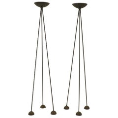 Pair of Floor Lamps by Koch and Lowy, Black Tripod Stands with Halogen Fixtures