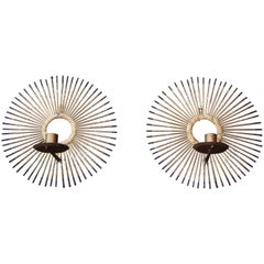 Pair of Brutalist Mixed-Metal Sunburst Wall Sconces