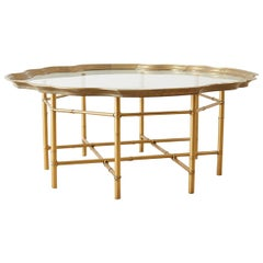 Baker Brass and Glass Tray Top Coffee Cocktail Table