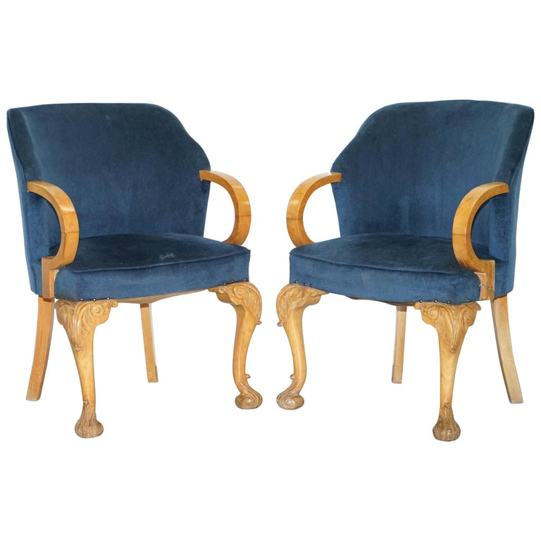 Pair Of 1930s Art Deco Tub Armchairs Carved Georgian Legs Royal Blue Upholstery For