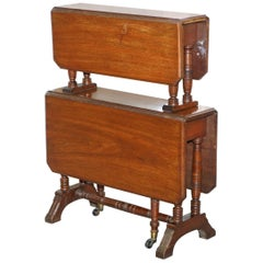 Two-Tier Folding Victorian Mahogany Side End Wine Occasional Dumb Waiter Table