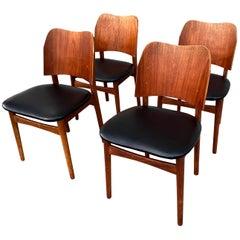 Danish Teak Midcentury Dining Chairs from Bramin, Set of 4