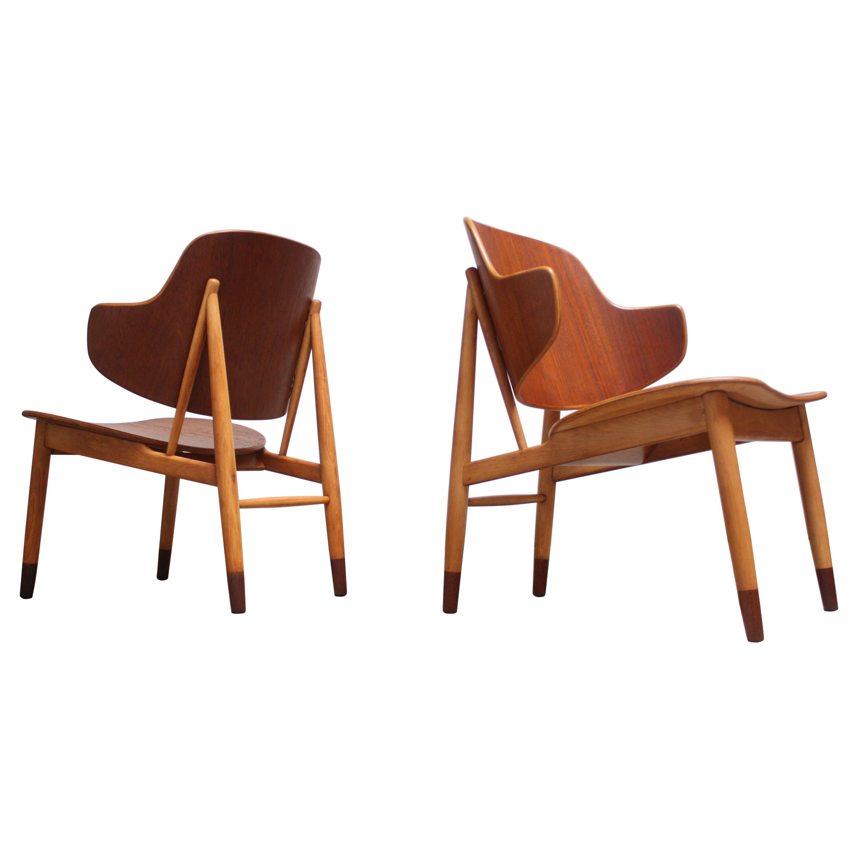 Pair of Danish Sculptural Shell Chairs by Ib Kofod-Larsen in Teak and Beech