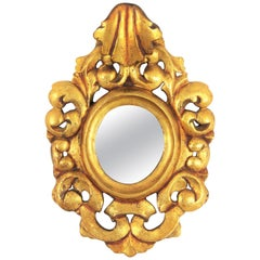 Unusual Spanish 1940s Rococo Style Carved and Giltwood Mini Sized Mirror