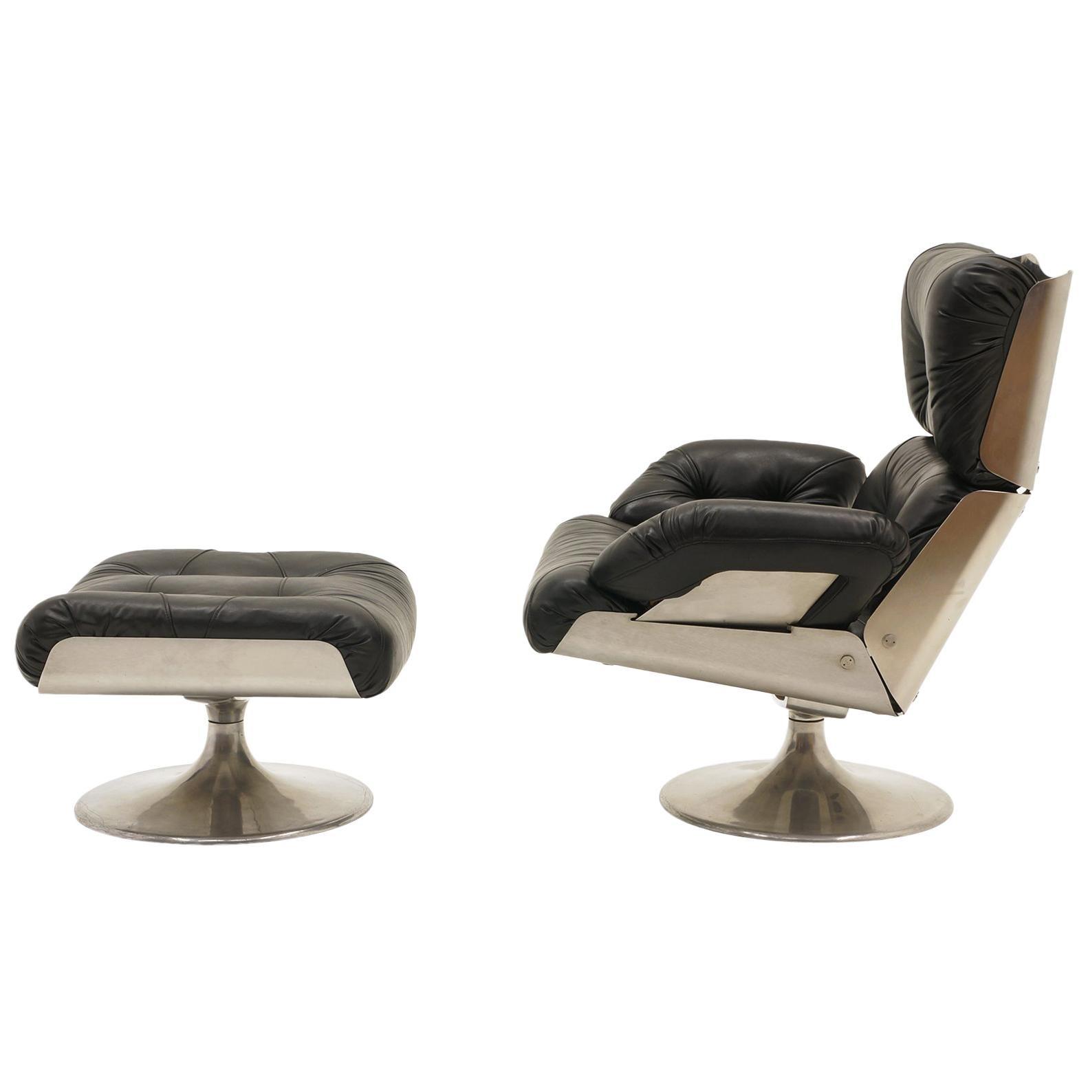 French Lounge Swivel Chair & Ottoman, Matte Chrome, Cast Aluminum, Black Vinyl