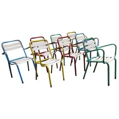 Mid-20th Century, Different Colors French Bistrot Tolix Chairs Model T3, 1950