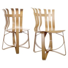 Light Wood Hat Trick Chairs by Frank Gehry for Knoll, Pair