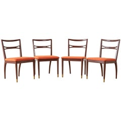 Set of Four Midcentury Lacquered Dining Chairs