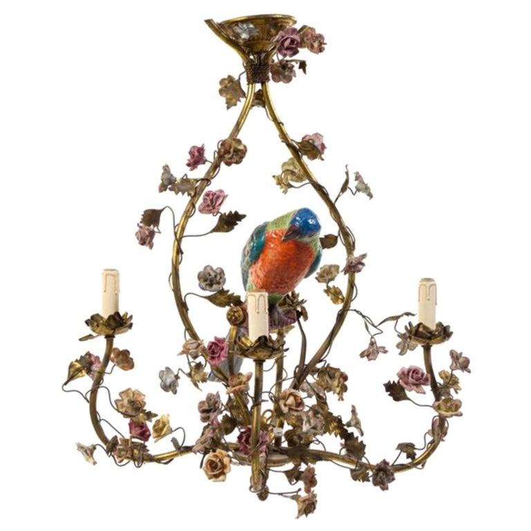 Whimsical Italian Chandelier, Porcelain Parrot, Porcelain Roses, Gilt Cage For Sale
