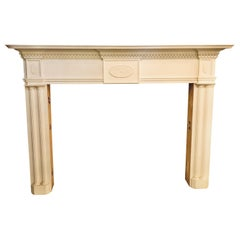 Pair of Compatible Monumental Hand Carved Neoclassical Fire Place Surrounds
