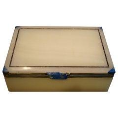 Art-Deco-Onyx - Silber und Lapislazuli Box, ca. 1925 von Asprey London verkauft