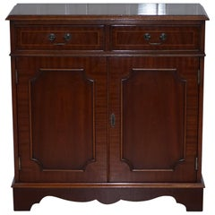 Flamed Mahogany Bradley Furniture England Bookcase Cabinet Drawers