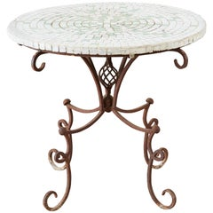 Mosaic Tile-Top Iron Base Drinks Table